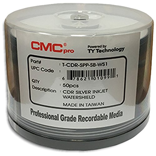 CMC Pro (Powered by TY Technology) Watershield GLOSSY *SILVER PEARL* Inkjet Hub 52X 80-Min CD-R'S 100-Pak by CMC Pro - Powered by TY Technology