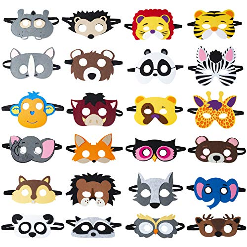 TEEHOME Animal Masks Party Favors (24 Packs) for Kid - Safari Party Supplies with 24 Different Types - Great Idea for Petting Zoo | Farmhouse | Jungle Safari Theme Birthday Party