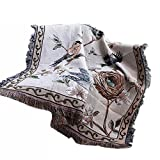 NKTM Cotton Throw Blankets with Tassels Flower/Bird Beige for Couch Home Decoration American Village Style 50 X 60 Inches