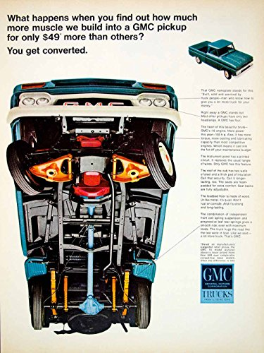 1966 Ad Vintage GMC Blue Pickup Truck Chassis I-6 Engine General Motors GM YLZ1 - Original Print Ad