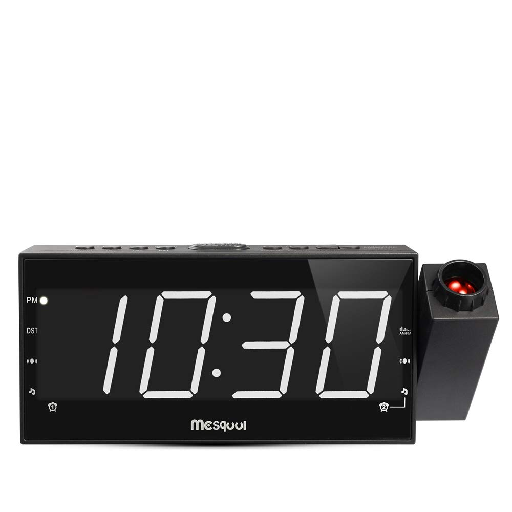 Mesqool 7'' Projection Alarm Clock for Bedrooms, Ceiling, Kitchen, Desk, Shelf, Wall, Travel, Home - AM FM Radio, 3 Dimmer, Dual Alarm, USB Charging Port, Outlet Powered & Battery Backup Setting