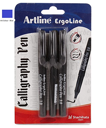 Artline Ergoline Calligraphy Pen Blue (1.0, 2.0, 3.0) mm Tip Pack (B06XJ28LLJ) Amazon Price History, Amazon Price Tracker