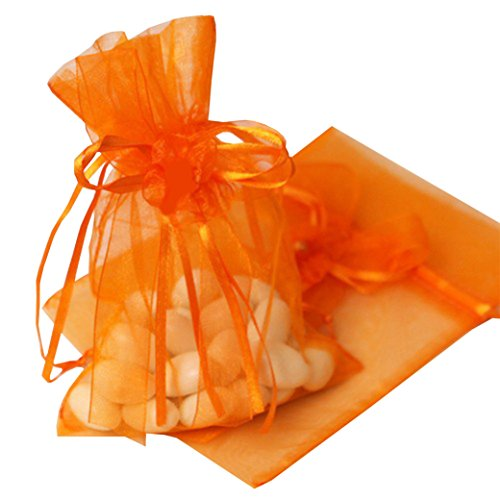 Organza Favorur Bags 100pcs Drawstring Wedding Gift Bridal Pouch Valentine's Wrapping (Orange, 7 x 9cm (Small))