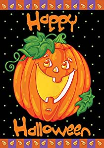 Toland - Happy Halloween - Decorative Pumpkin Holiday Jack o Lantern USA-Produced House Flag