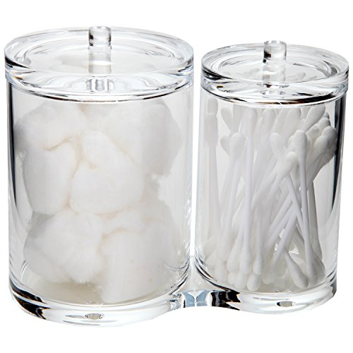 ARAD Cotton Ball and Swabs Holder Acrylic - Two Compartments with Separate Lids - Large Capacity for Bathroom Items