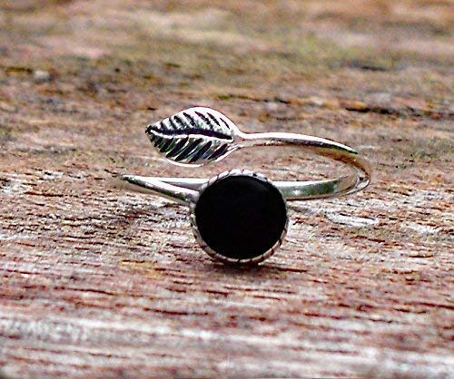 Recycled Antique Black Depression Glass Sterling Silver Leaf Ring