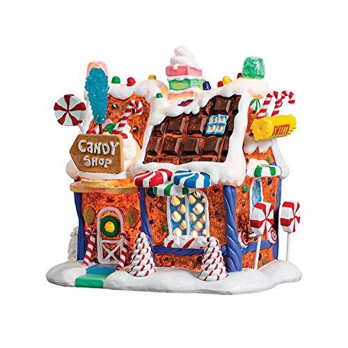 Lemax - The Candy Shop - Beleuchtetes Lebkuchenhaus - Höhe  17cm - Batteriebetrieben - Porzellan - Thema  Sugar'n Spice