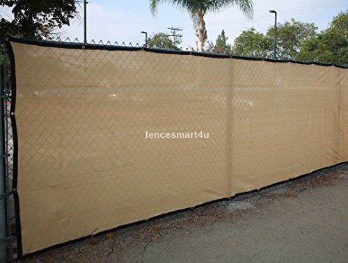 8' X 50' Tan Beige UV Rated 85% Blockage Fence Privacy Screen Windscreen Shade Cover Fabric Mesh Tarp W/Grommets (145gsm) by FenceSmart4U