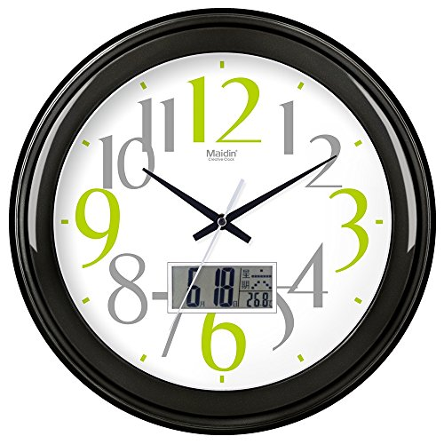 BYLE Wall Clock Quartz Mute Non-Ticking Silent Kitchen Living Room Battery Round Clock Simple Muted Electronic Quartz Clock Home Decor Wall Clock, 16 Inch, Flat-Panel Lcd -060, Carbon Black