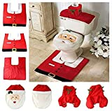 Christmas Decorations Santa Claus Elf Snowman Reindeer Toilet Seat Cover Bathroom Mat and Rug Set 3PC by Dioline