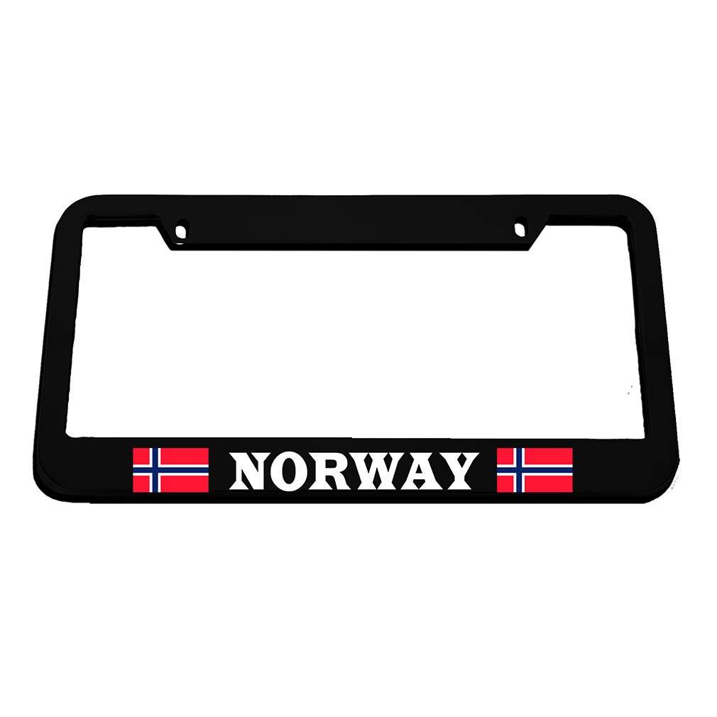 Black 2 Holes Speedy Pros Norway Flag Norwegian Zinc Metal License Plate Frame Car Auto Tag Holder