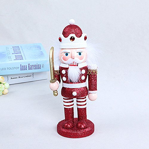 gelvs 25 cm Handmade Wood Nutcracker Xmas Evening Party Ceremony Decorative Figure 1 Set of 3 Style 1 Swordman 1 Soldier in Gold Outfit 1 with White Outfit by gelvs (Image #2)