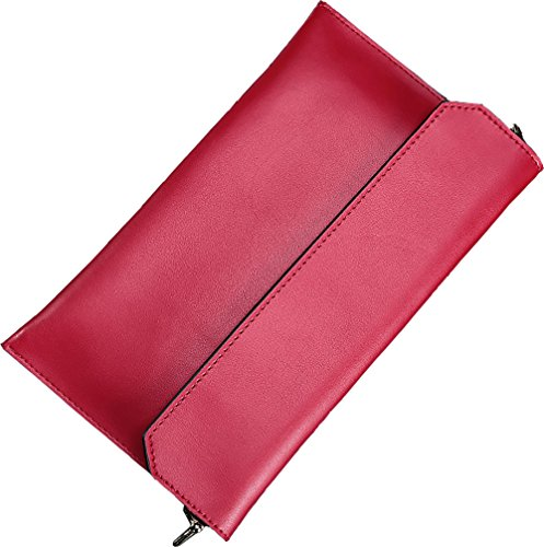Covelin Women's Wristlet Clutch Handbag Genuine Leather Envelope Evening Shoulder Bags Wine Red