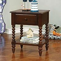 Furniture of America CM-AC323EX Lindsey Espresso Nightstand, 24.3 H
