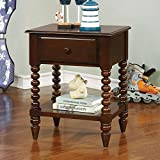 Furniture of America CM-AC323EX Lindsey Espresso Nightstand, 24.3'' H