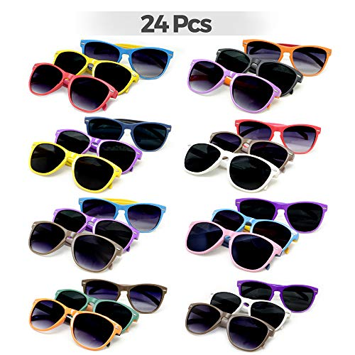 VCOSTORE Neon Sunglasses Party Favor Bulk, 24 Pack Party Eyewear Sunglasses Shade with UV Protection, Party Glasses for Kids and Adults Pool Party, Gifts, Game Prizes, Goodie Bag Fillers ()