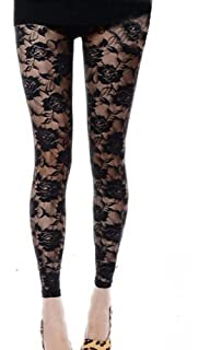 2c2cbbc444cd0 Alione Women Sexy Lace Footless Legging Pants Tight Rose Floral Trousers  Slim Pantyhose