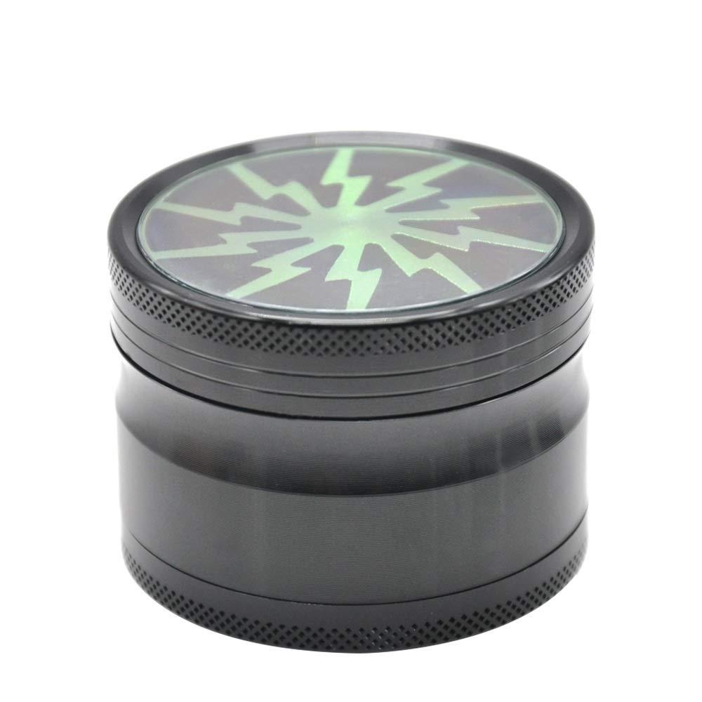 Yzyamz Herb Grinder Aluminum Four-Sided Transparent Skylight Portable Lightning Portable Manual Grinder Bench Grinder, 2.5in'' (63Mm) (Color : Green) by Yzyamz