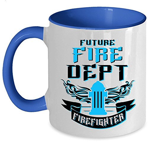 Cool Gift For Firemans Coffee Mug, Future Fire Dept Firefighter Accent Mug (Accent Mug - Blue) ()