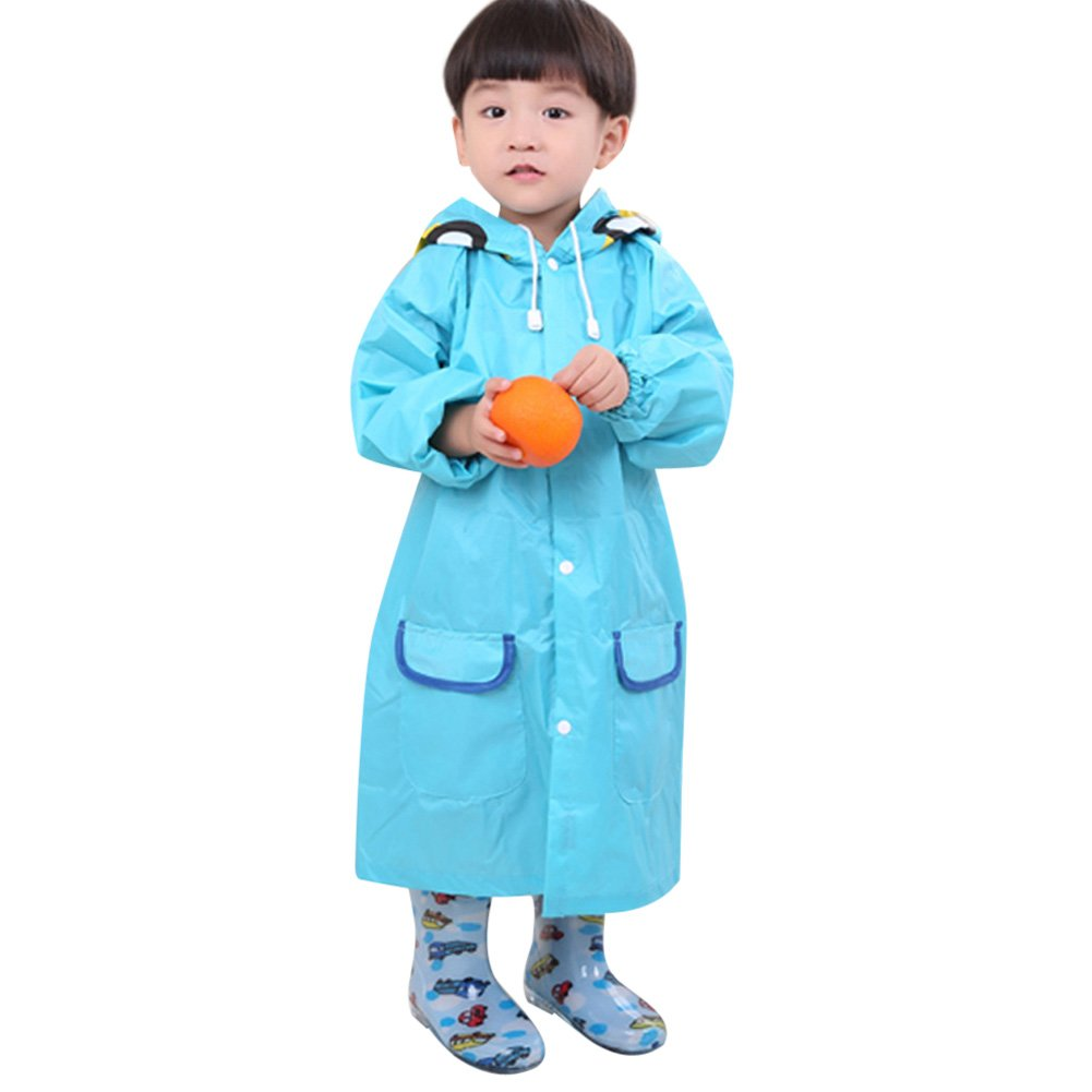 Kid Raincoat Baby Rainsuit Children Rainwear Cild Cartoon Waterproof Cute Raincoat (Blue) Amazingdeal