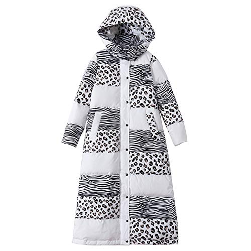 Leopard Print Hooded Long Warm White Duck Down Jacket Thickened Hooded Coat Parka