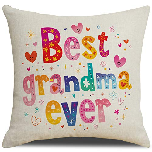 RUOAR Best Grandma Ever Throw Pillow Cover Case Cushion Cover Gift for Mother 18