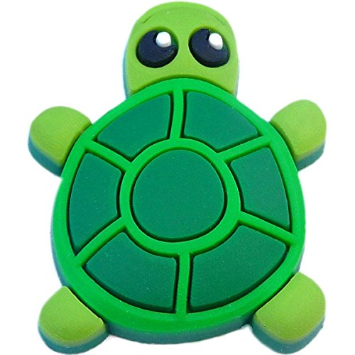 Turtle Rubber Charm for Wristbands and Shoes Green (Volleyball Turtle)