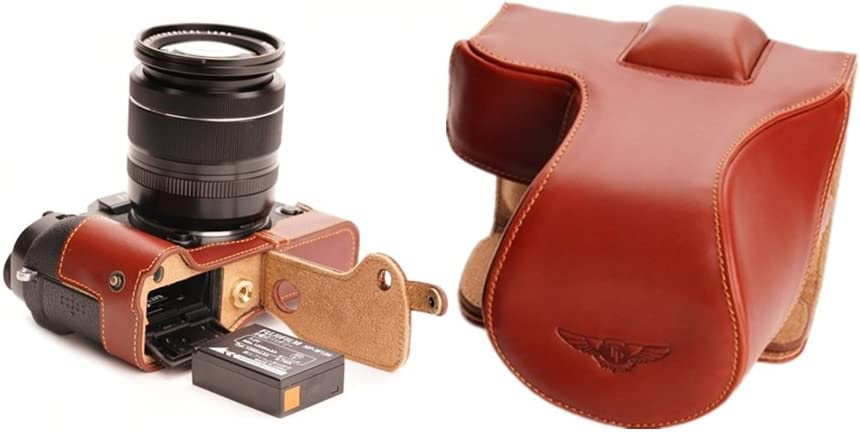 Handmade Genuine real Leather Full Camera Case bag cover for FUJIFILM X-T1 XT1 Bottom opening Brown color