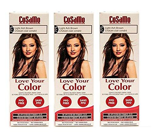 CoSaMo - Love Your Color Non-Permanent Hair Color 775 Light Ash Brown - 3 oz. (Pack of 3) + Makeup Blender Stick, 12 Pcs ()