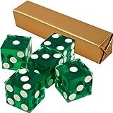 Stick of 5 Green Precision Casino Razor Edge Craps Dice - Comes with 5 Bonus Standard Dice!