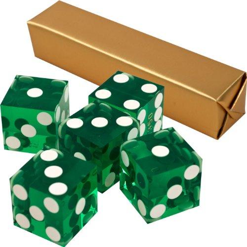 Stick of 5 Green Precision Casino Razor Edge Craps Dice - Comes with 5 Bonus Standard Dice! by TMG