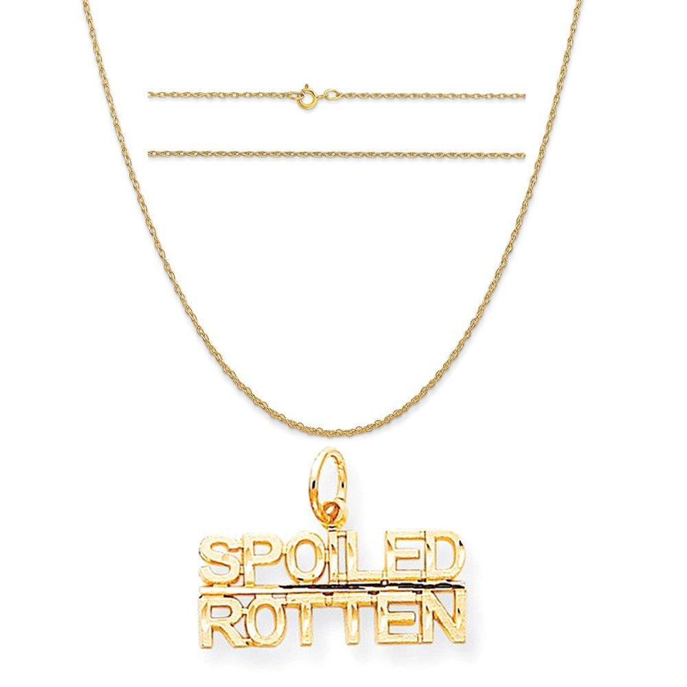 10 K黄色ゴールドTalking – Spoiled Rottenチャームon 14 Kイエローゴールドロープチェーンネックレス B076F1Y78N