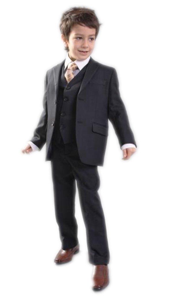 MLT Boy's 3-pieces Fit Notch Lapel Wedding Suits (S, Black)