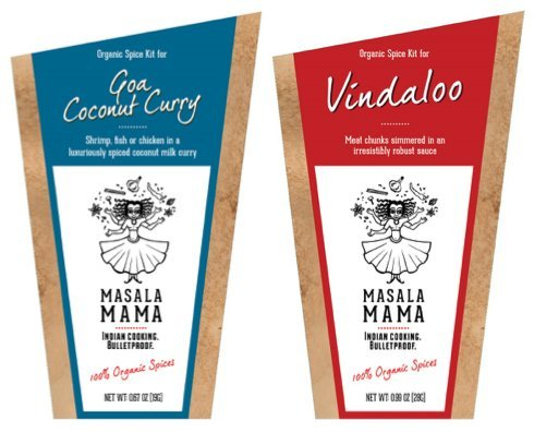 Gourmet Organic Indian Spice Kit Gift Set - Masala Mama - Goa Coconut Curry & Vindaloo - 1oz SET - 1 Kit Serves 4 People - SET OF 2 SPICE KITS