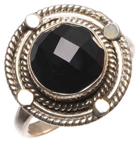 Natural Black Onyx Handmade Mexican 925 Sterling Silver Ring, size 8.25 (Mexican Onyx Ring)