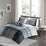 Comfort Spaces Twin/Twin XL Comforter Set - Benjamin Lightweight, Ultra Soft, Contemporary Plaid Black/White Patchwork Comforter 3 Piece Microfiber Reverse Comfy Bedding Set - All Season