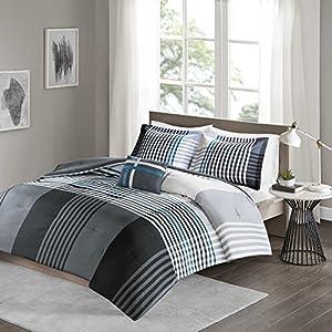 Comfort Spaces Full/Queen Comforter Set - Benjamin Lightweight, Ultra Soft, Contemporary Plaid Black/White Patchwork Comforter 4 Piece Microfiber Reverse Comfy Bedding Set - All Season