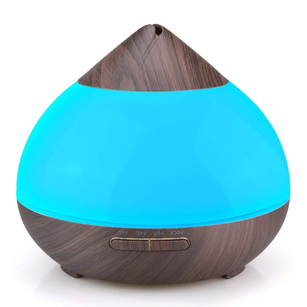 HAIOOU Aromatherapy Essential Oil Diffuser, Ultrasonic Wood Grain Cool Mist Humidifier with 4 Timer Settings, High/Low Mist Output, 7 Color Changing Nightlight for Home Office | 300ml, Dark