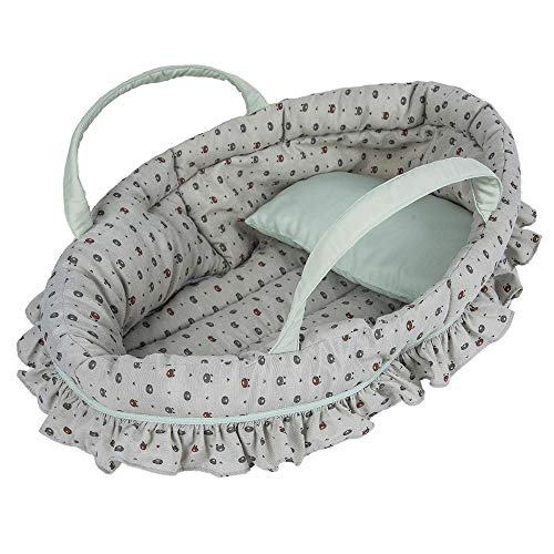 Printing Doll Carry Cot Set for 18 Inch Baby Doll, The Setting Includes A Cot with A Pillow, Fits American Girl Dolls