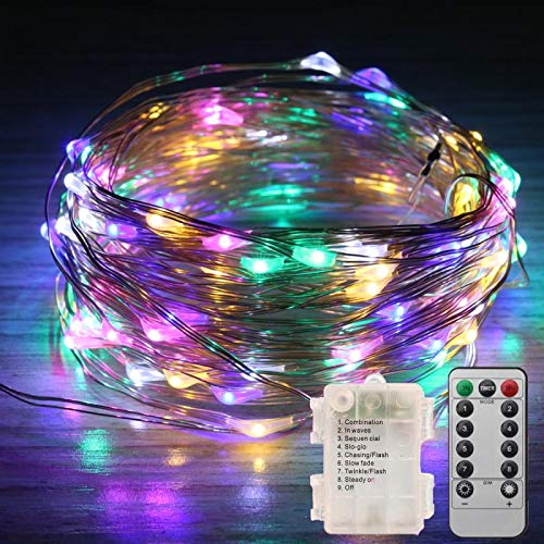 Zhuohao Multi-Color 100led 33.5FT Fairy Lights, Battery Powered 8 Flashing Modes String Lights with Remote Control and Timer for Christmas, Party, Wedding, Festival Decoration