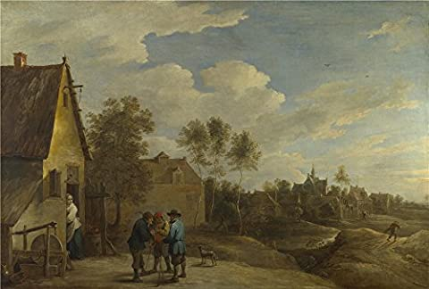 Perfect Effect Canvas ,the Reproductions Art Decorative Canvas Prints Of Oil Painting 'David Teniers The Younger A View Of A Village ', 8 X 12 Inch / 20 X 30 Cm Is Best For Bar Gallery Art And Home Decor And Gifts