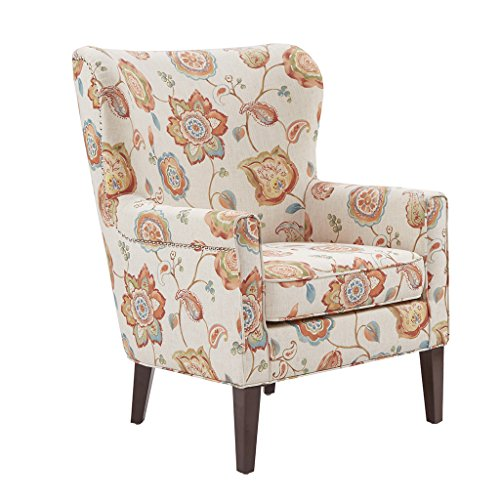 Madison Park Colette Accent Chairs-Hardwood, Plywood, Wing Back Living Armchair Modern Classic Style Family Room Sofa Furniture, Cream