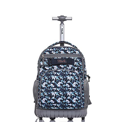 Camouflage Rolling Backpack - Tilami Rolling Backpack 18 inch for School Travel,Blue Camouflage