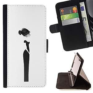Ihec-Tech / Negro Flip PU Cuero Cover Case para Samsung Galaxy Note 4 IV - Couture Femme Robe Noire