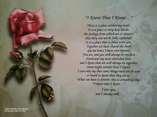 Anniversary gift for wife or girlfriend quot i know that