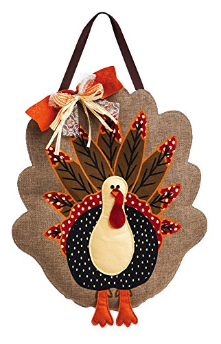 Evergreen Flag Adorned Turkey Burlap Door Decor -
