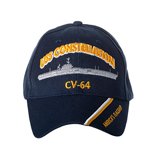 (Artisan Owl Officially Licensed USS Constellation CV-64 Embroidered Navy Blue Baseball Cap )