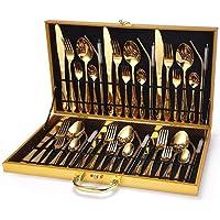 Faqueiro Aço Inox 42pçs Dourado Caixa Moderna Luxo Cor:Dourado