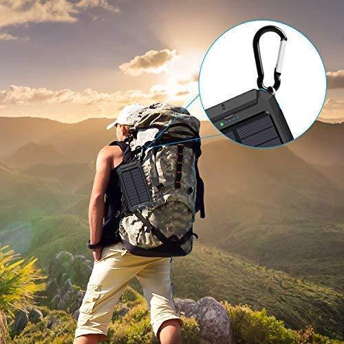 bfe614808b47 Solar Charger 10000mAh, Hiluckey Portable Charger Solar Power Bank ...
