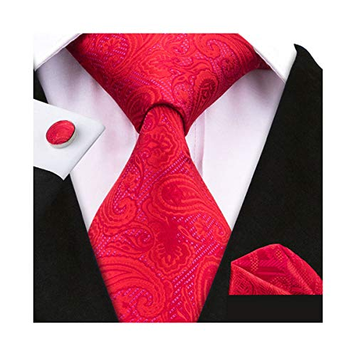 YOHOWA Mens Red Silk Tie Pocket Square Solid Necktie Cufflinks Set